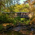 Downstream Autumn Elder Mill Covered Bridge Art by Reid Callaway