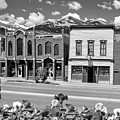 Downtown Breckenridge Colorado And Mountains - Square Format Bw by Gregory Ballos