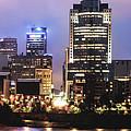 Downtown Cincinnati Panorama Night Skyline by Gregory Ballos