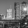 Downtown City Skyline Of Houston Texas - Black White by Gregory Ballos
