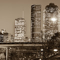 Downtown City Skyline Of Houston Texas - Sepia by Gregory Ballos