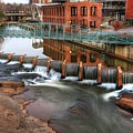Downtown Greenville On The River Winter by Carol Montoya