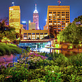 Downtown Indianapolis Skyline At Night by Gregory Ballos