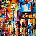 Downtown Lights - Palette Knife Oil Painting On Canvas By Leonid Afremov by Leonid Afremov