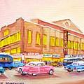 Downtown Montreal Hockey Forum Vintage Montreal Art  by Carole Spandau