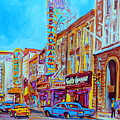 Downtown Montreal Street Rue Ste Catherine Vintage City Street With Shops And Stores Carole Spandau  by Carole Spandau