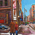 Downtown Montreal Streetscene At La Senza by Carole Spandau