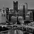 Downtown Pittsburgh At Twilight - Black And White by Mitch Spence