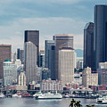 Downtown Seattle And Ferries by E Faithe Lester