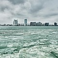 Downtown Windsor Canada City Skyline Across River In Spring Wint by Alex Grichenko