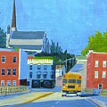 Downtown With School Bus     by Laurie Breton