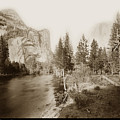 Domes And Royal Arches From Merced River Yosemite Valley Calif. Circa 1890 by California Views Archives Mr Pat Hathaway Archives
