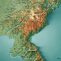 Dpr Korea 3d Render Topographic Map Border by Frank Ramspott
