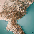 Dpr Korea 3d Render Topographic Map Neutral Border by Frank Ramspott