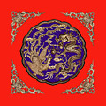 Dragon Phoenix Red Bkgd by Kristin Elmquist