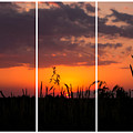 Dramatic Sunset Triptych by Cynthia Woods
