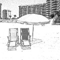 Drawing The Beach Chairs by Michelle Powell