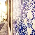 Drawing Tiles On Bairro Alto Walls In Lisbon by Leonardo Patrizi
