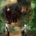 Dream Catcher - Spirit Of The Black Bear by Carol Cavalaris