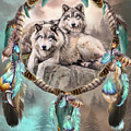 Dream Catcher - Two Wolves Together by Carol Cavalaris