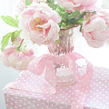 Dreamy Shabby Chic Cottage Pink Peonies In Vase - Romantic Pink Peonies Floral Bouquet by Kathy Fornal