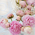 Dreamy Shabby Chic Romantic Peonies - Garden Peonies White Mason Jars by Kathy Fornal