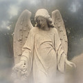 Dreamy Surreal Angel Art Fog Cemetery by Kathy Fornal