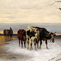 Driving The Herd Home In Wintry Landscape by Christian Friedrich Mali