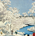 Drum bridge and Setting Sun Hill at Meguro by Hiroshige
