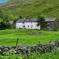 Dry Stone Wall And White Cottage - P4a16022 by Dean Wittle