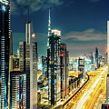 Dubai Downtown Architecture And A Highway.  by Dmitrii Telegin