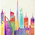 Dubai Landmarks Watercolor Poster by Pablo Romero