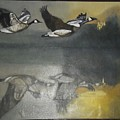 Duck Are Flying On The Sea Side by Ayesha Jafar