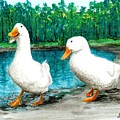 Ducks By The Pond by Louise Miller