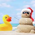 Ducky And Santa At The Beach by Garland Johnson