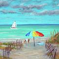 Dunes Beach Colorful Umbrella by Ken Figurski