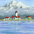 Dungeness Lighthouse With Mount Baker by Julie Senf