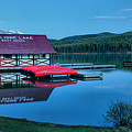 Dusk At The Maligne Lake Boathouse by Adam Jewell