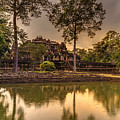 Dusk Light Preah Khan Temple Reflection by Mike Reid