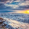 Dusk On The Snowy Badlands by Rikk Flohr