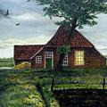Dutch Farm At Dusk by Arie Van der Wijst