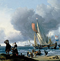 Dutchman Embarking Onto A Yacht by Ludolf Bakhuizen