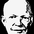 Dwight D. Eisenhower White On Black Pop Art by Filip Hellman