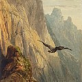 Eagle Circling Before A Cliff Face by Alexandre