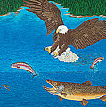 Eagle Trophy Brown Trout Rainbow Trout Art Print Blue Mountain Lake Artwork Giclee Birds Wildlife by Baslee Troutman