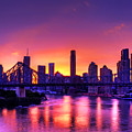 Early Brisbane Sunset With Purple And Yellow Sky by Chris Smith