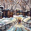 Original Montreal Paintings For Sale Winter Walk After The Snowfall Exceptional Canadian Art Spandau by Carole Spandau