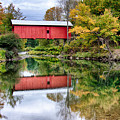 Early Fall Colors Surround A Covered Bridge In Vermont by Jeff Folger
