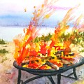Early Morning Beach Bonfire by Carlin Blahnik CarlinArtWatercolor
