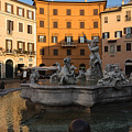 Early Morning Glow - Neptune Fountain On Piazza Navona In Rome Italy by Georgia Mizuleva